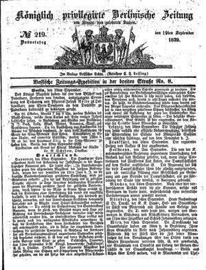 Königlich privilegirte Berlinische Zeitung von Staats- und gelehrten Sachen vom 19.09.1839