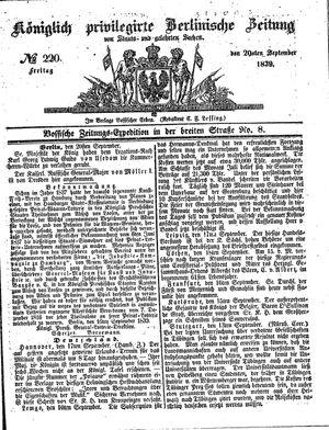 Königlich privilegirte Berlinische Zeitung von Staats- und gelehrten Sachen vom 20.09.1839