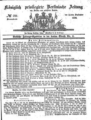Königlich privilegirte Berlinische Zeitung von Staats- und gelehrten Sachen vom 21.09.1839