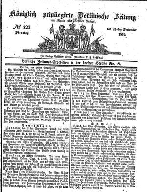 Königlich privilegirte Berlinische Zeitung von Staats- und gelehrten Sachen vom 24.09.1839