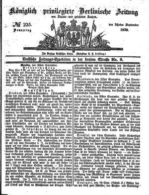 Königlich privilegirte Berlinische Zeitung von Staats- und gelehrten Sachen vom 26.09.1839