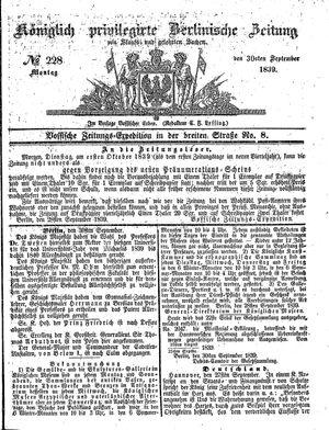 Königlich privilegirte Berlinische Zeitung von Staats- und gelehrten Sachen vom 30.09.1839