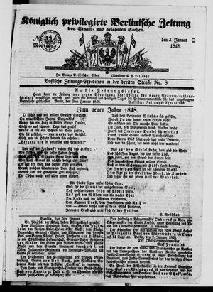 Königlich privilegirte Berlinische Zeitung von Staats- und gelehrten Sachen vom 03.01.1848