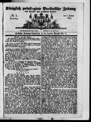 Königlich privilegirte Berlinische Zeitung von Staats- und gelehrten Sachen vom 04.01.1848