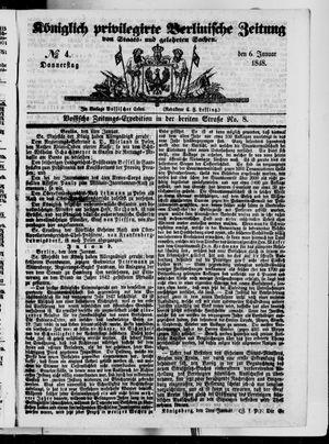 Königlich privilegirte Berlinische Zeitung von Staats- und gelehrten Sachen vom 06.01.1848