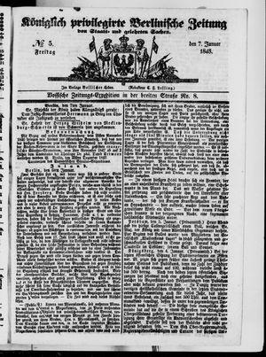 Königlich privilegirte Berlinische Zeitung von Staats- und gelehrten Sachen on Jan 7, 1848