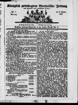 Königlich privilegirte Berlinische Zeitung von Staats- und gelehrten Sachen vom 10.01.1848