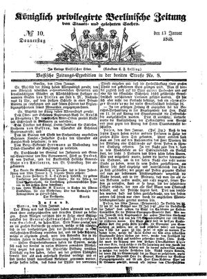 Königlich privilegirte Berlinische Zeitung von Staats- und gelehrten Sachen on Jan 13, 1848