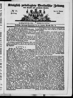 Königlich privilegirte Berlinische Zeitung von Staats- und gelehrten Sachen vom 14.01.1848