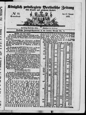 Königlich privilegirte Berlinische Zeitung von Staats- und gelehrten Sachen vom 15.01.1848
