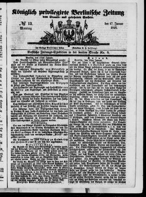 Königlich privilegirte Berlinische Zeitung von Staats- und gelehrten Sachen vom 17.01.1848