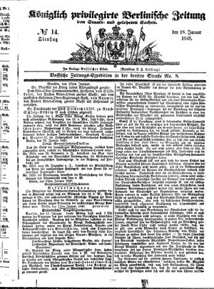 Königlich privilegirte Berlinische Zeitung von Staats- und gelehrten Sachen on Jan 18, 1848