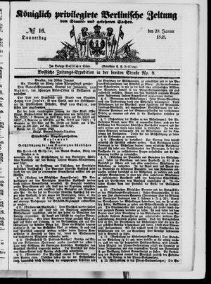 Königlich privilegirte Berlinische Zeitung von Staats- und gelehrten Sachen vom 20.01.1848