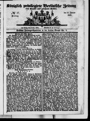 Königlich privilegirte Berlinische Zeitung von Staats- und gelehrten Sachen vom 21.01.1848