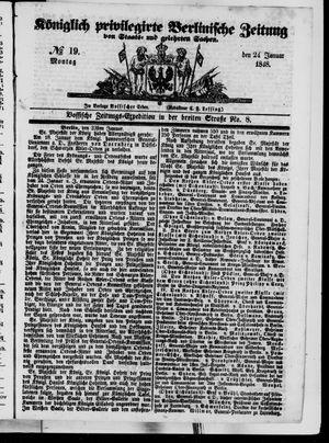 Königlich privilegirte Berlinische Zeitung von Staats- und gelehrten Sachen vom 24.01.1848