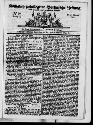Königlich privilegirte Berlinische Zeitung von Staats- und gelehrten Sachen vom 25.01.1848