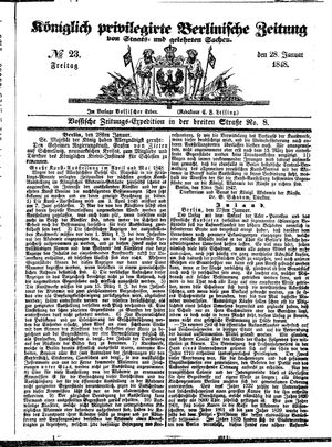 Königlich privilegirte Berlinische Zeitung von Staats- und gelehrten Sachen vom 28.01.1848