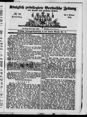 Königlich privilegirte Berlinische Zeitung von Staats- und gelehrten Sachen vom 03.02.1848