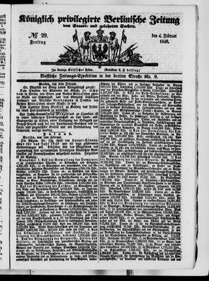 Königlich privilegirte Berlinische Zeitung von Staats- und gelehrten Sachen vom 04.02.1848