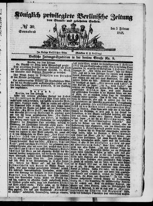 Königlich privilegirte Berlinische Zeitung von Staats- und gelehrten Sachen vom 05.02.1848