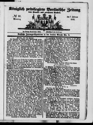 Königlich privilegirte Berlinische Zeitung von Staats- und gelehrten Sachen vom 07.02.1848