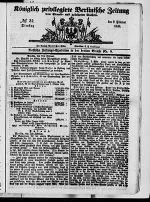 Königlich privilegirte Berlinische Zeitung von Staats- und gelehrten Sachen vom 08.02.1848