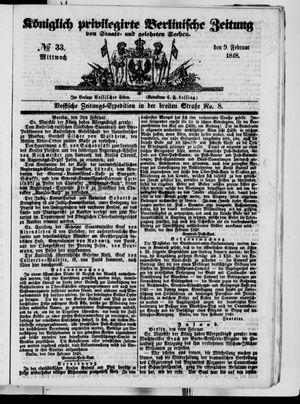 Königlich privilegirte Berlinische Zeitung von Staats- und gelehrten Sachen vom 09.02.1848