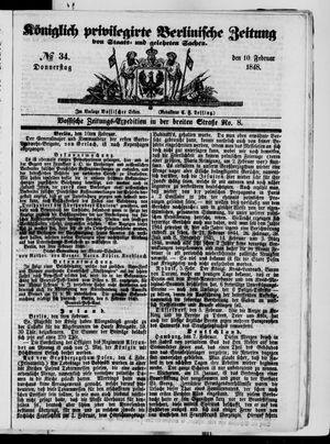 Königlich privilegirte Berlinische Zeitung von Staats- und gelehrten Sachen vom 10.02.1848