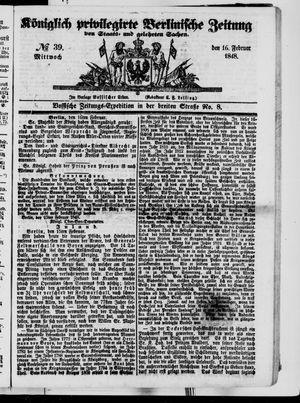 Königlich privilegirte Berlinische Zeitung von Staats- und gelehrten Sachen vom 16.02.1848