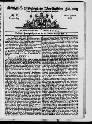 Königlich privilegirte Berlinische Zeitung von Staats- und gelehrten Sachen vom 17.02.1848