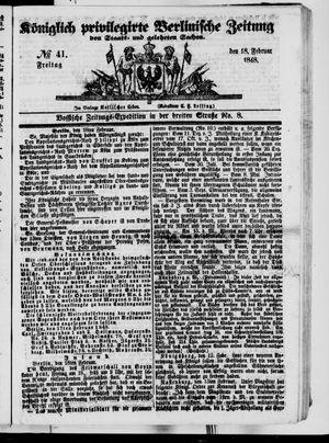 Königlich privilegirte Berlinische Zeitung von Staats- und gelehrten Sachen vom 18.02.1848