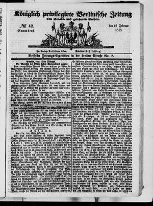 Königlich privilegirte Berlinische Zeitung von Staats- und gelehrten Sachen vom 19.02.1848