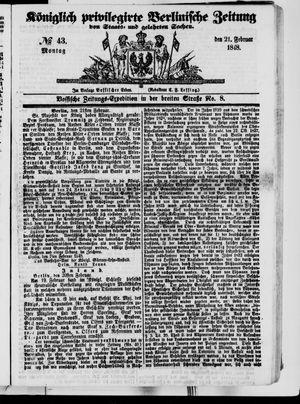 Königlich privilegirte Berlinische Zeitung von Staats- und gelehrten Sachen vom 21.02.1848