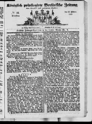 Königlich privilegirte Berlinische Zeitung von Staats- und gelehrten Sachen vom 22.02.1848