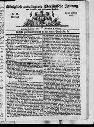 Königlich privilegirte Berlinische Zeitung von Staats- und gelehrten Sachen (23.02.1848)