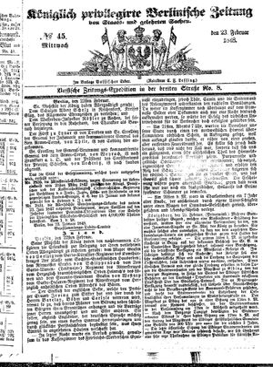 Königlich privilegirte Berlinische Zeitung von Staats- und gelehrten Sachen vom 23.02.1848