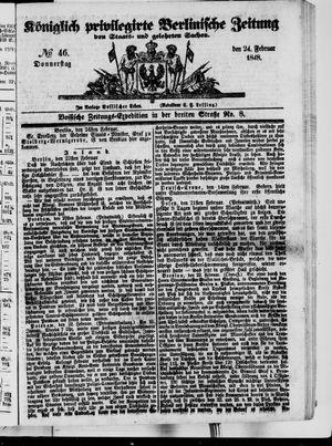 Königlich privilegirte Berlinische Zeitung von Staats- und gelehrten Sachen vom 24.02.1848