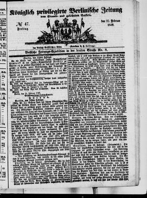Königlich privilegirte Berlinische Zeitung von Staats- und gelehrten Sachen on Feb 25, 1848