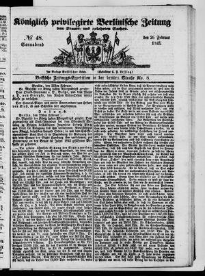 Königlich privilegirte Berlinische Zeitung von Staats- und gelehrten Sachen vom 26.02.1848