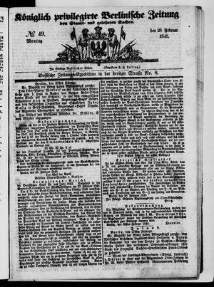 Königlich privilegirte Berlinische Zeitung von Staats- und gelehrten Sachen vom 28.02.1848