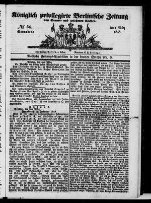 Königlich privilegirte Berlinische Zeitung von Staats- und gelehrten Sachen vom 04.03.1848