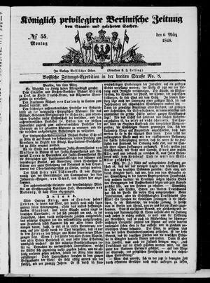 Königlich privilegirte Berlinische Zeitung von Staats- und gelehrten Sachen vom 06.03.1848