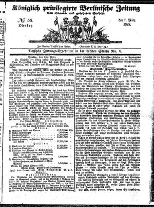 Königlich privilegirte Berlinische Zeitung von Staats- und gelehrten Sachen vom 07.03.1848