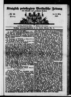 Königlich privilegirte Berlinische Zeitung von Staats- und gelehrten Sachen vom 10.03.1848
