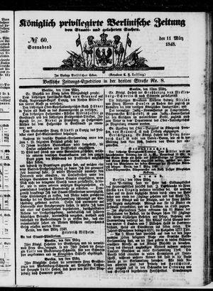 Königlich privilegirte Berlinische Zeitung von Staats- und gelehrten Sachen on Mar 11, 1848