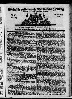 Königlich privilegirte Berlinische Zeitung von Staats- und gelehrten Sachen vom 13.03.1848