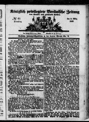 Königlich privilegirte Berlinische Zeitung von Staats- und gelehrten Sachen vom 14.03.1848