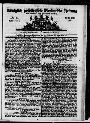 Königlich privilegirte Berlinische Zeitung von Staats- und gelehrten Sachen vom 16.03.1848