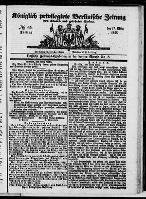 Königlich privilegirte Berlinische Zeitung von Staats- und gelehrten Sachen vom 17.03.1848