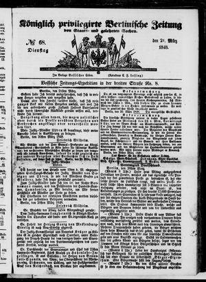 Königlich privilegirte Berlinische Zeitung von Staats- und gelehrten Sachen vom 21.03.1848